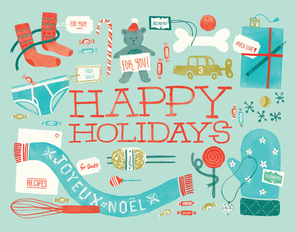 Fun hand painted Happy Holidays Card