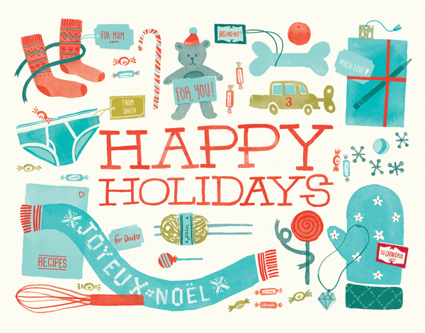 Charming Gifts and Toys Happy Holidays Card