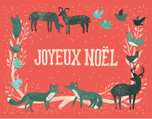 Pink Joyeux Noel Christmas Card