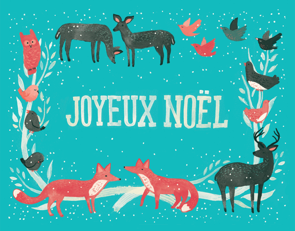 Turquoise Joyeux Noel with Animals Christmas Card
