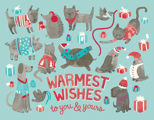 Funny Animal Drawings Warmest Wishes Holiday Card