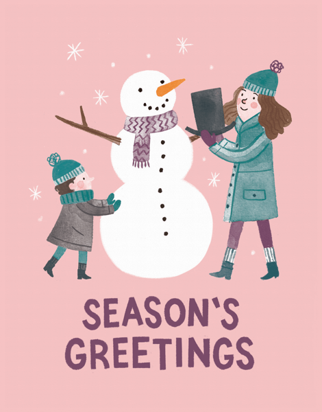 kids-playing-with-snowman-seasons-greetings