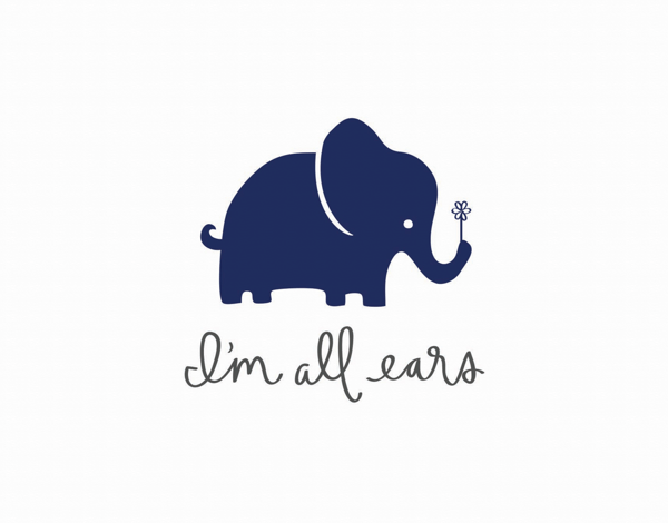 Elephant I'm All Ears Friend Card