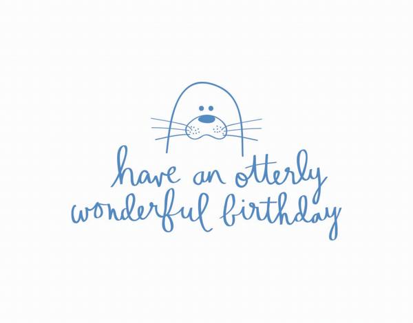 Adorable Pun Otter Birthday Card