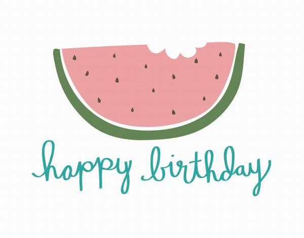 Hand Drawn Watermelon Birthday Card