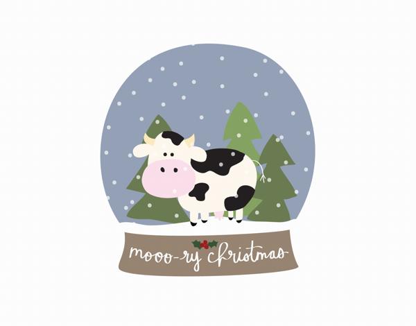 Mooo-ry Christmas Holiday Card