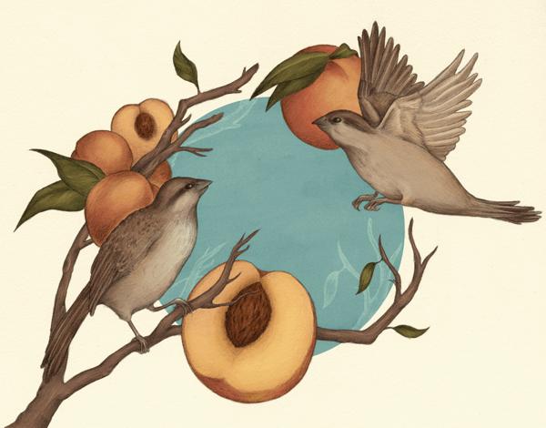 Earthy Birds and Peaches Art Card