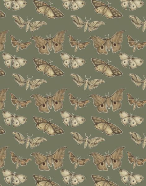 Earthy Moth Pattern Stationery