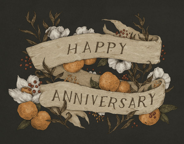 Beautiful Floral Happy Anniversary Card