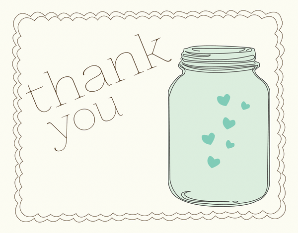 Thank You Card with Mason Jar and Hearts