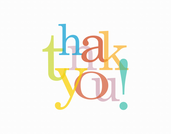 Colorful overlapping letters thank you card