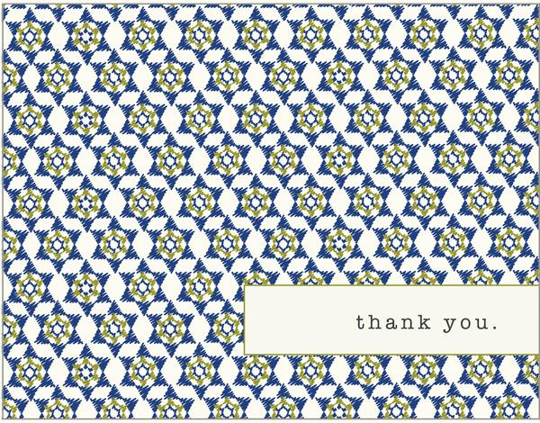 Blue Star of David Pattern Bar Mitzvah thank you card