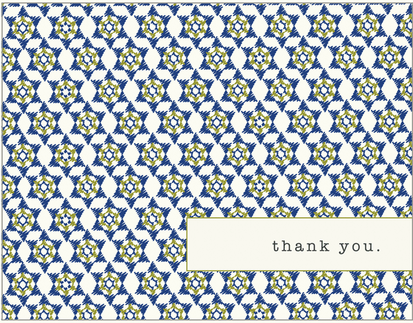 Blue Star of David Pattern Bar Mitzvah thank you card
