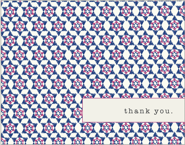 Purple pattern Bat Mitzvah thank you card