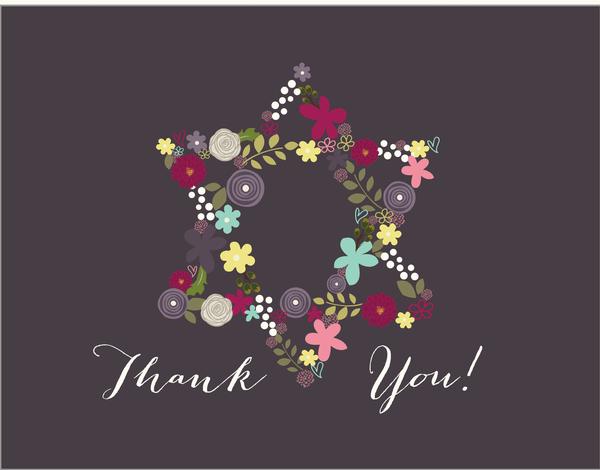 Flower Star of David Bat Mitzvah Thank You Card