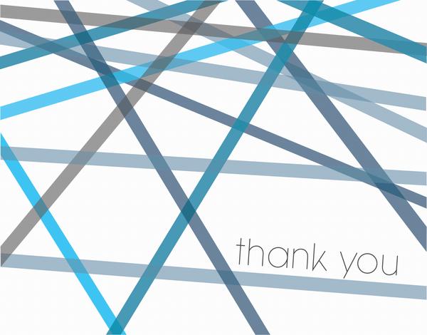 Blue Lines Bar & Bat Mitzvah thank you card