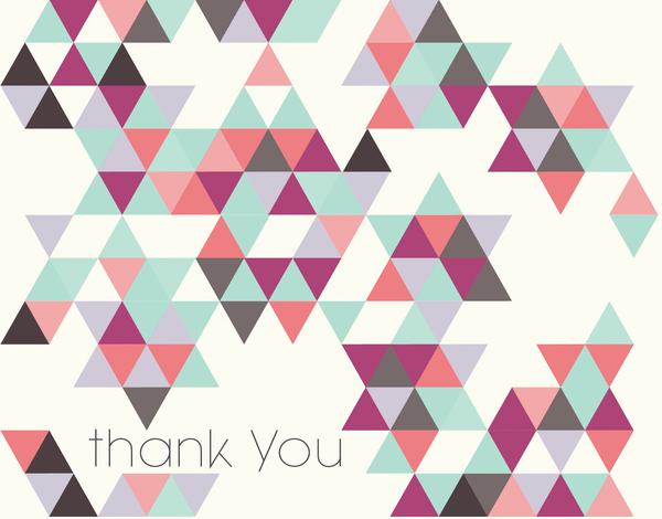Colorful Geometric Bar & Bat Mitzvah thank You card
