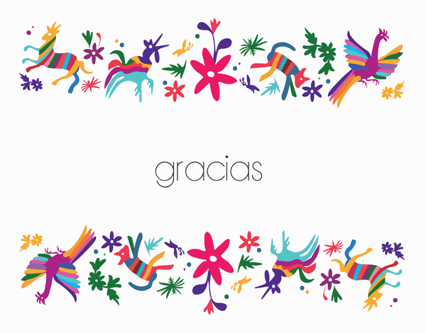 Colorful animals and flower Gracias Thank You Card