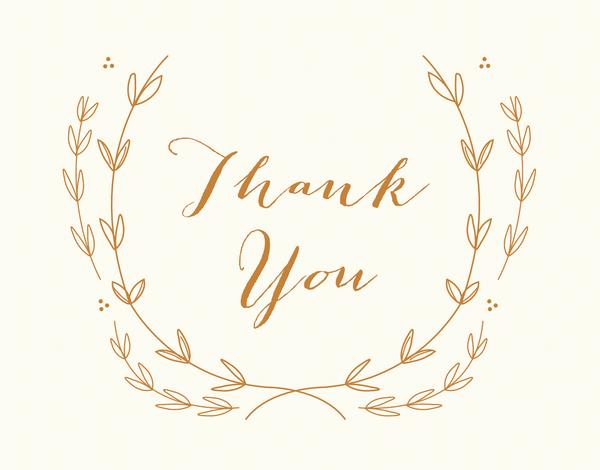 Elegant gold wreath script Thank You greeting