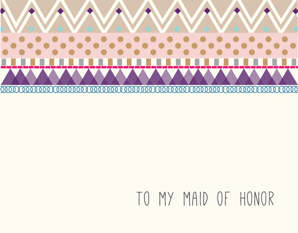 Pretty Bridal Party Card for Maid Of Honor