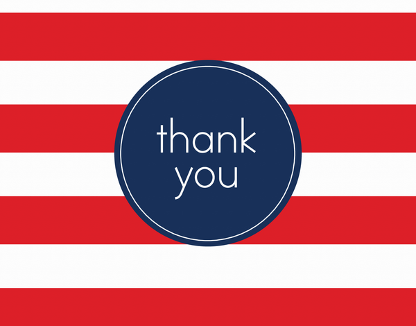 Red Rugby Stripes Thank You Note