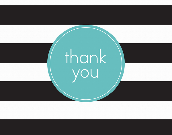Black Rugby Stripes Thank You Card