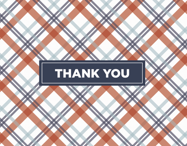 Blue and Red Plaid Bold Thank You card
