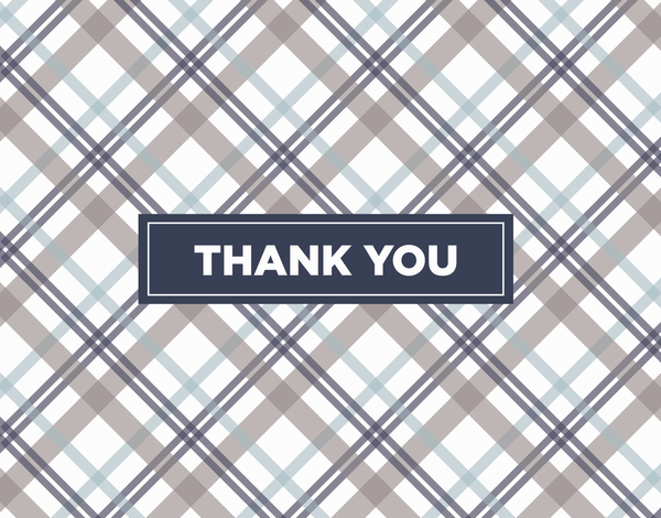 Grey Plaid Thank You Note