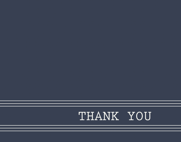 Masculine Handsome Navy Thank You Note