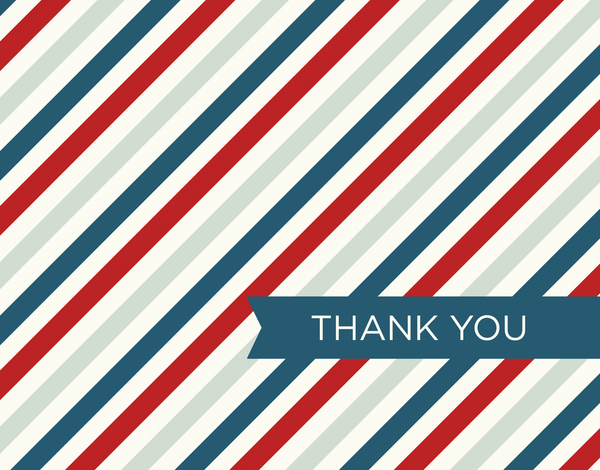 Red White and Blue Diagonal Stripes thank you note