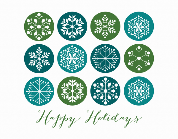 Blue and Green Snowflakes Holiday Card