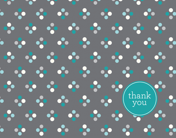 Quad turquoise polka dot Thank You card
