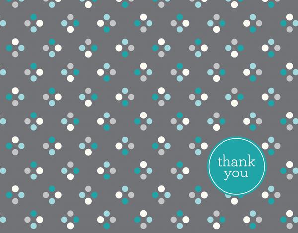 Quad turquoise polka dot Thank You card