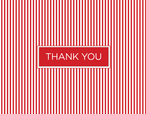 Traditional Red Pinstripe Thank You Stationery