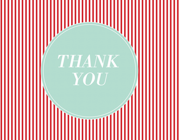 Red Pinstripes Thank You Note