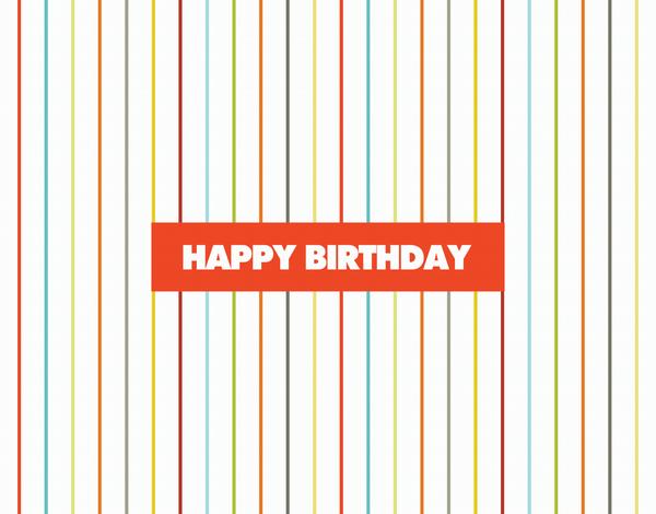Cheerful Bright Pinstripe Birthday Card
