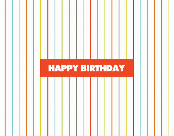 Cheerful Bright Pinstripe Birthday Card