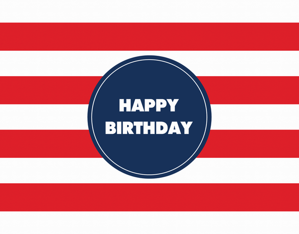 Bold Stripe Rugby Red Birthday Greeting