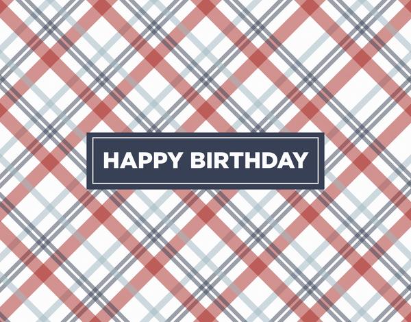 Red Plaid Birthday Card