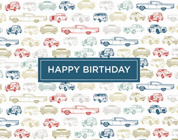 Retro Cars Birthday Card