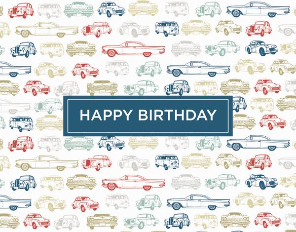 Retro Cars Birthday Card