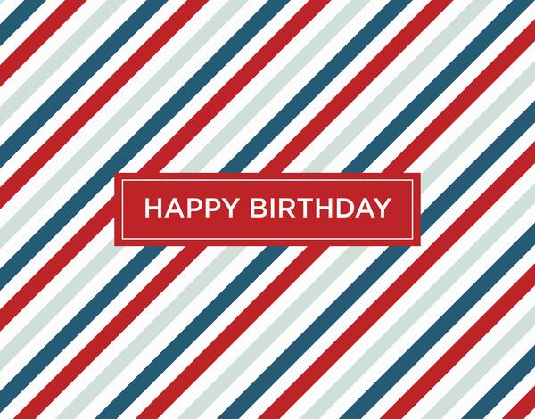 Masculine Red Stripes Birthday Greeting