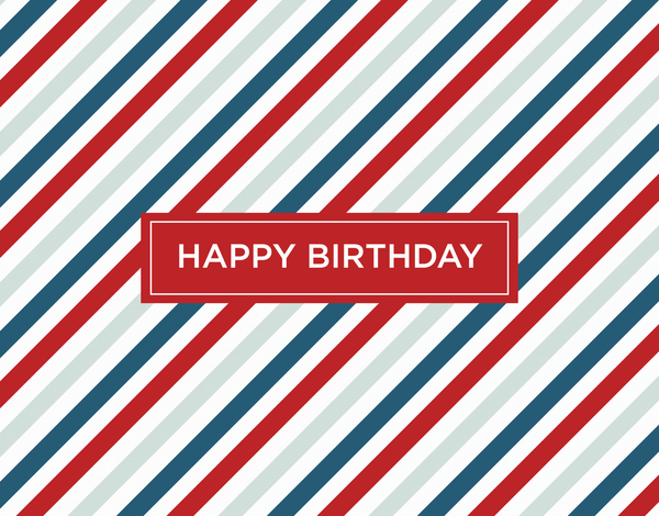 Masculine Red Stripes Birthday Greeting