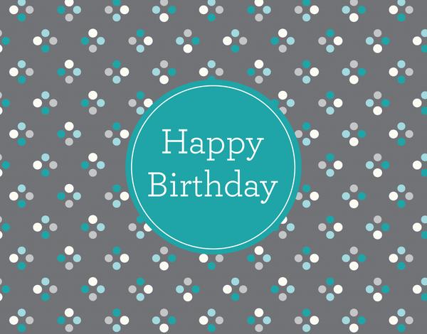 Classic blue polka dots Birthday Card