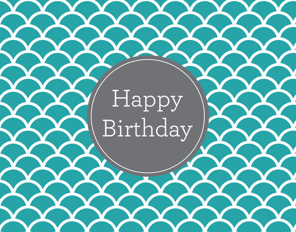 Turquoise Scalloped Birthday card