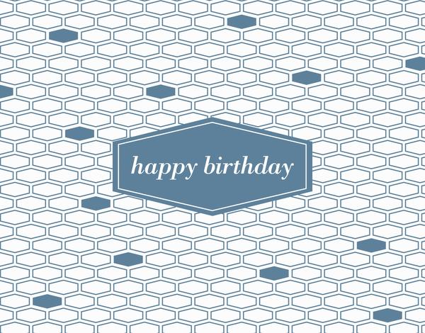 Blue Hexagon Birthday Card