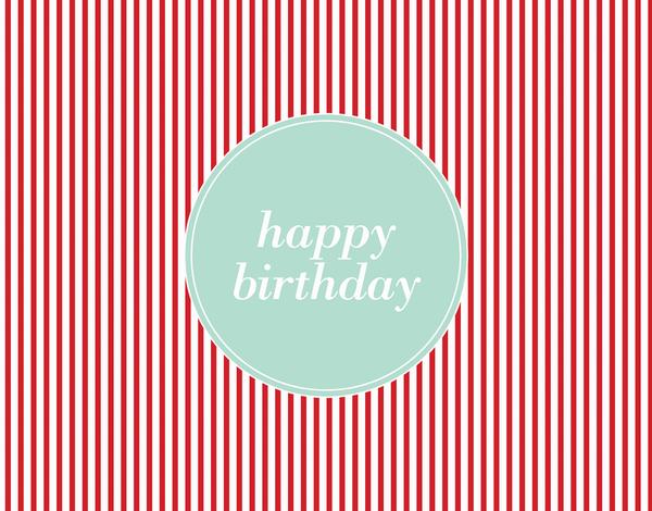 Classic Red Pinstripe Birthday Card