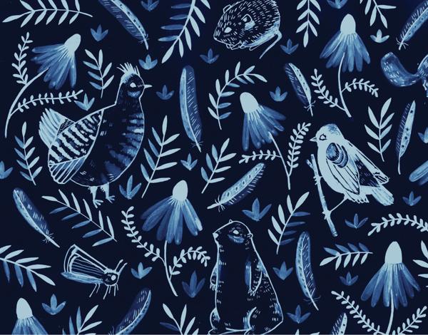 Dark Blue Birds and Flowers Stationery