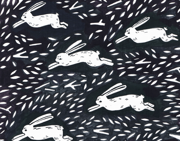 Black and White Rabbit Run Stationery