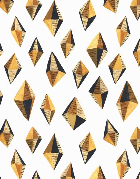 Geometric gold Gems Art Card